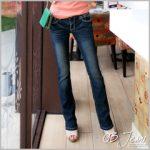0920新品 复古美型~韩版蓝黑仿旧小喇叭牛仔裤